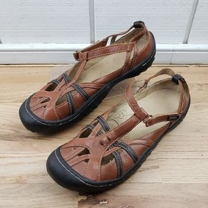 "JAMBU ""DUNE"" BLACK & BROWN STRAPPY LEATHER SHOES"
